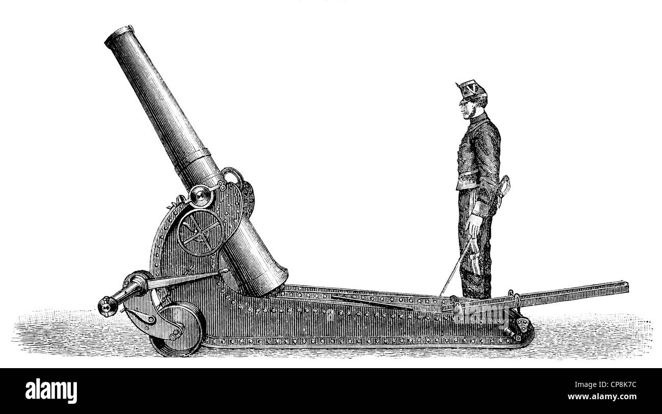 Historical illustration from the 19th Century, depiction of a French cannon Stock Photo
