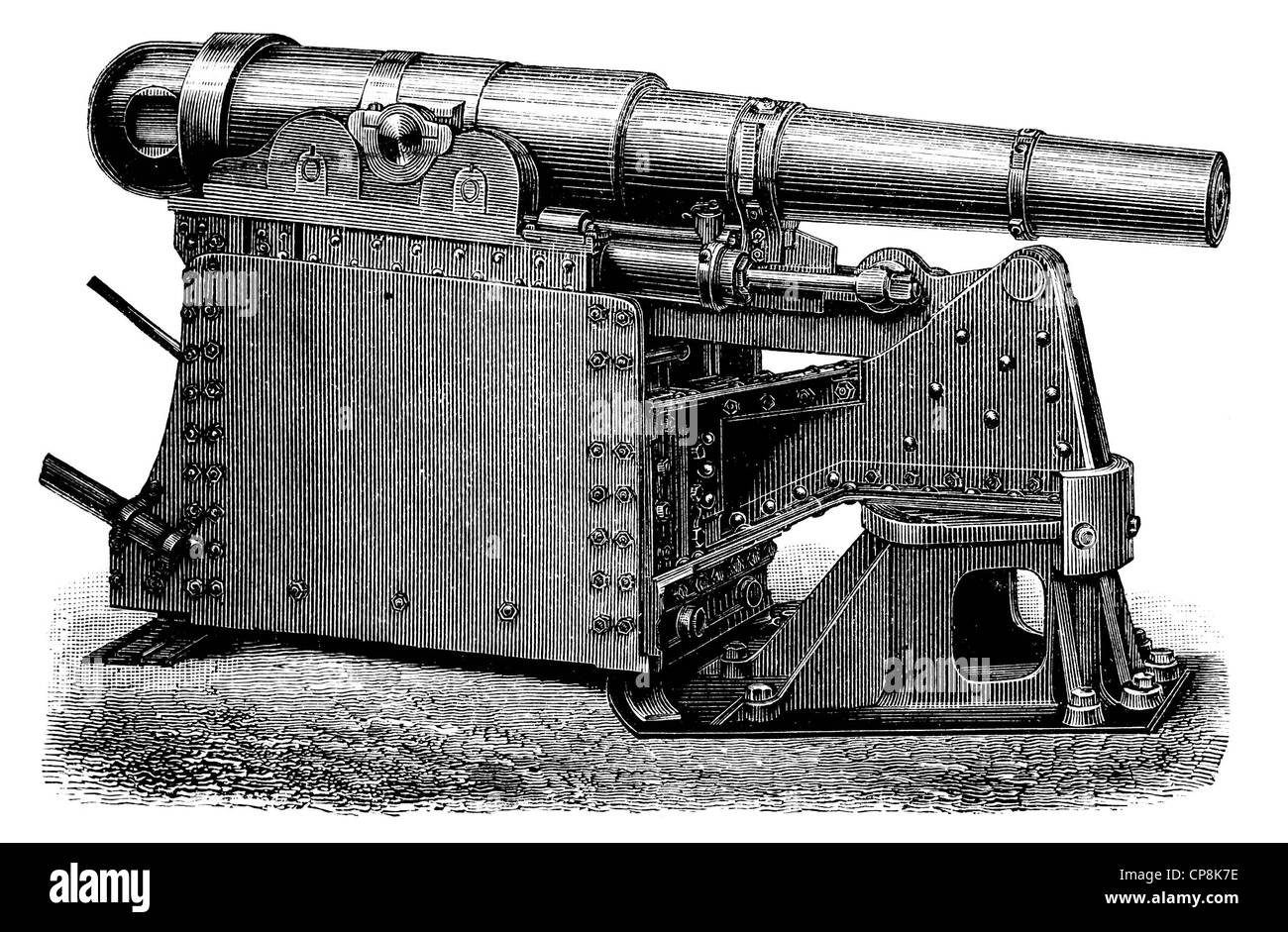 Historical illustration from the 19th Century, depiction of a German cannon from Krupp Stock Photo
