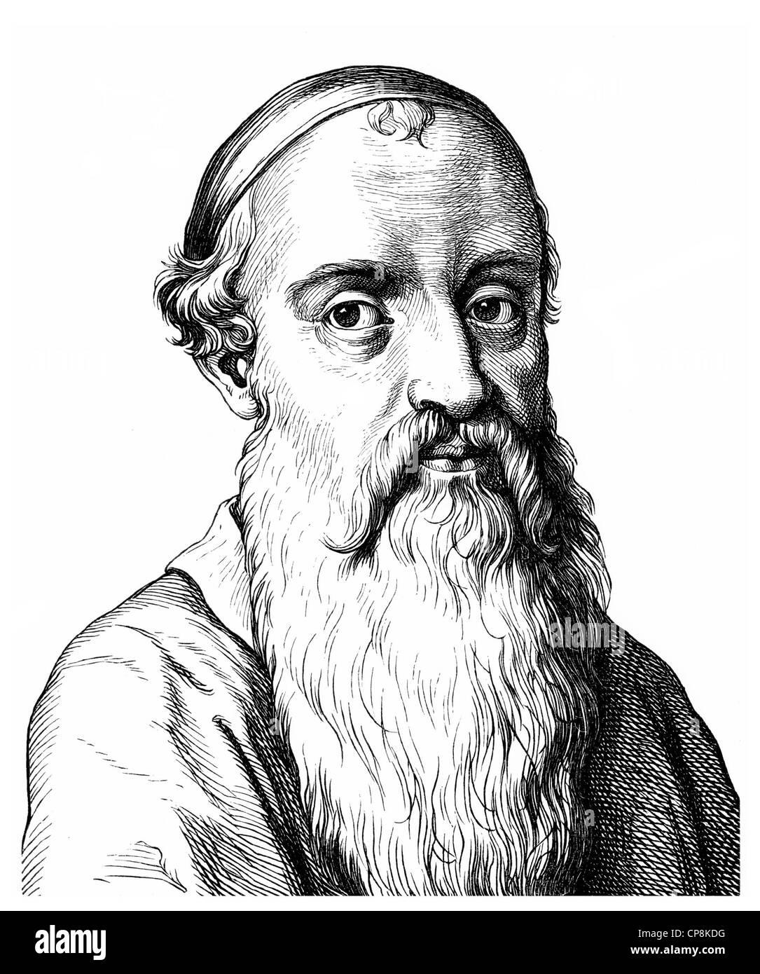 Menno Simons or Simonis, 1496 - 1561, a Dutch-Frisian theologian and Anabaptist, Historische Zeichnung aus dem 19. Stock Photo