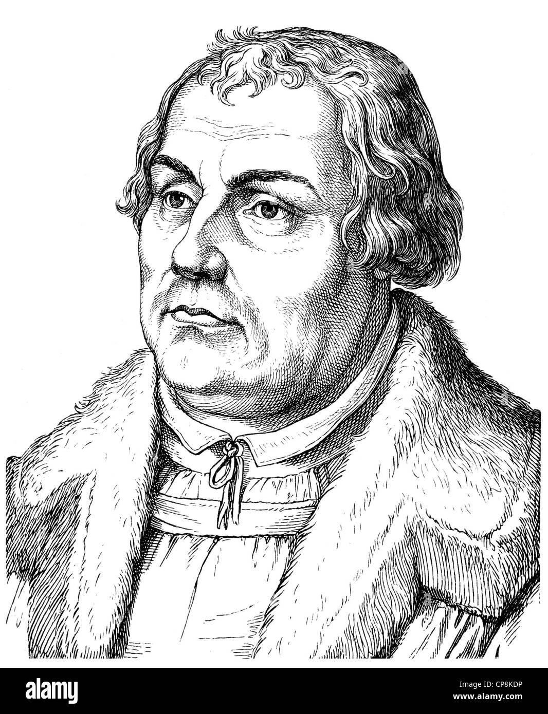 Martin Luther, 1483 - 1546, theologian and reformer, Historische Zeichnung aus dem 19. Jahrhundert, Portrait von - Stock Image