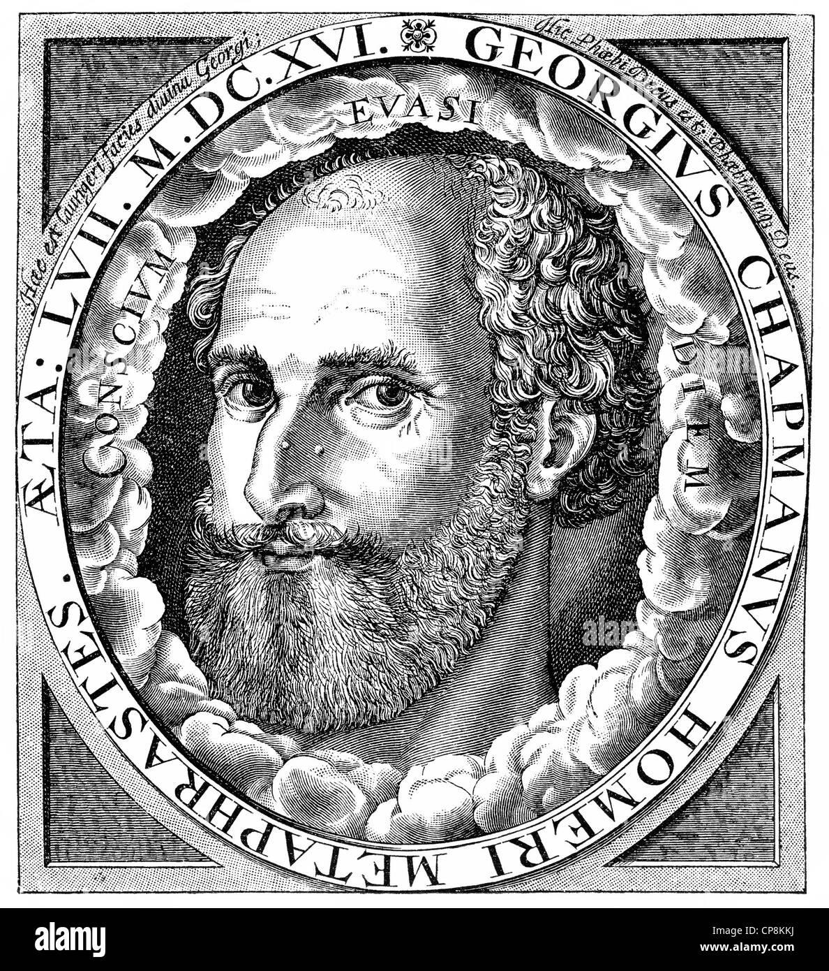 George Chapman, 1559 - 1634, an English playwright and poet, Historische Zeichnung aus dem 19. Jahrhundert, Portrait - Stock Image