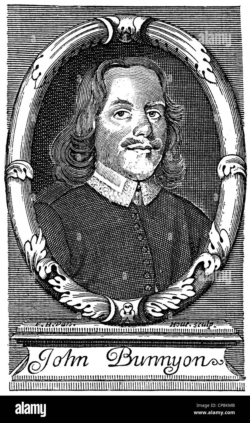 John Bunyan, 1628 - 1688, an English Baptist preacher and writer, Historische Zeichnung aus dem 19. Jahrhundert, - Stock Image