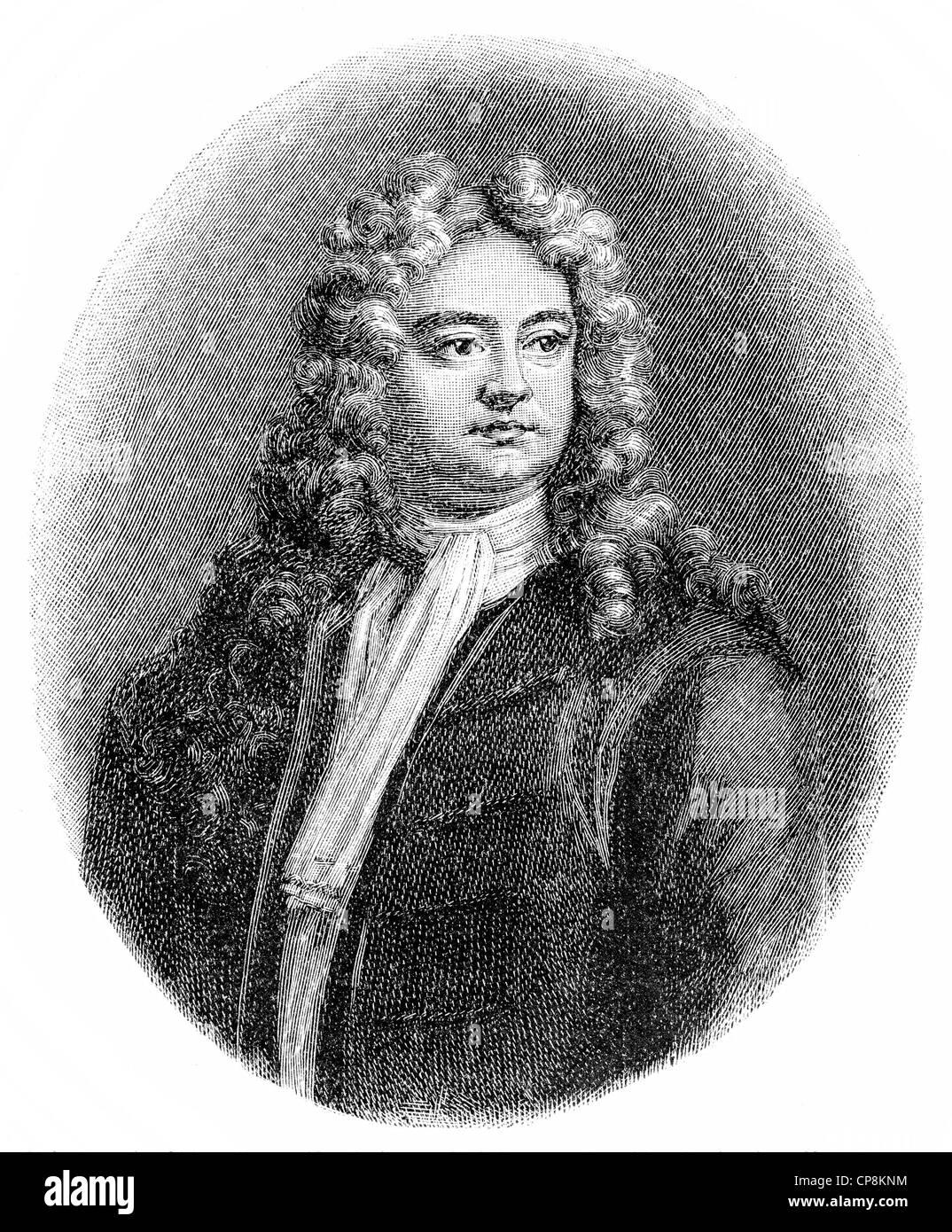Richard Steele, an English writer, Historische Zeichnung aus dem 19. Jahrhundert, Portrait von Sir Richard Steele, - Stock Image