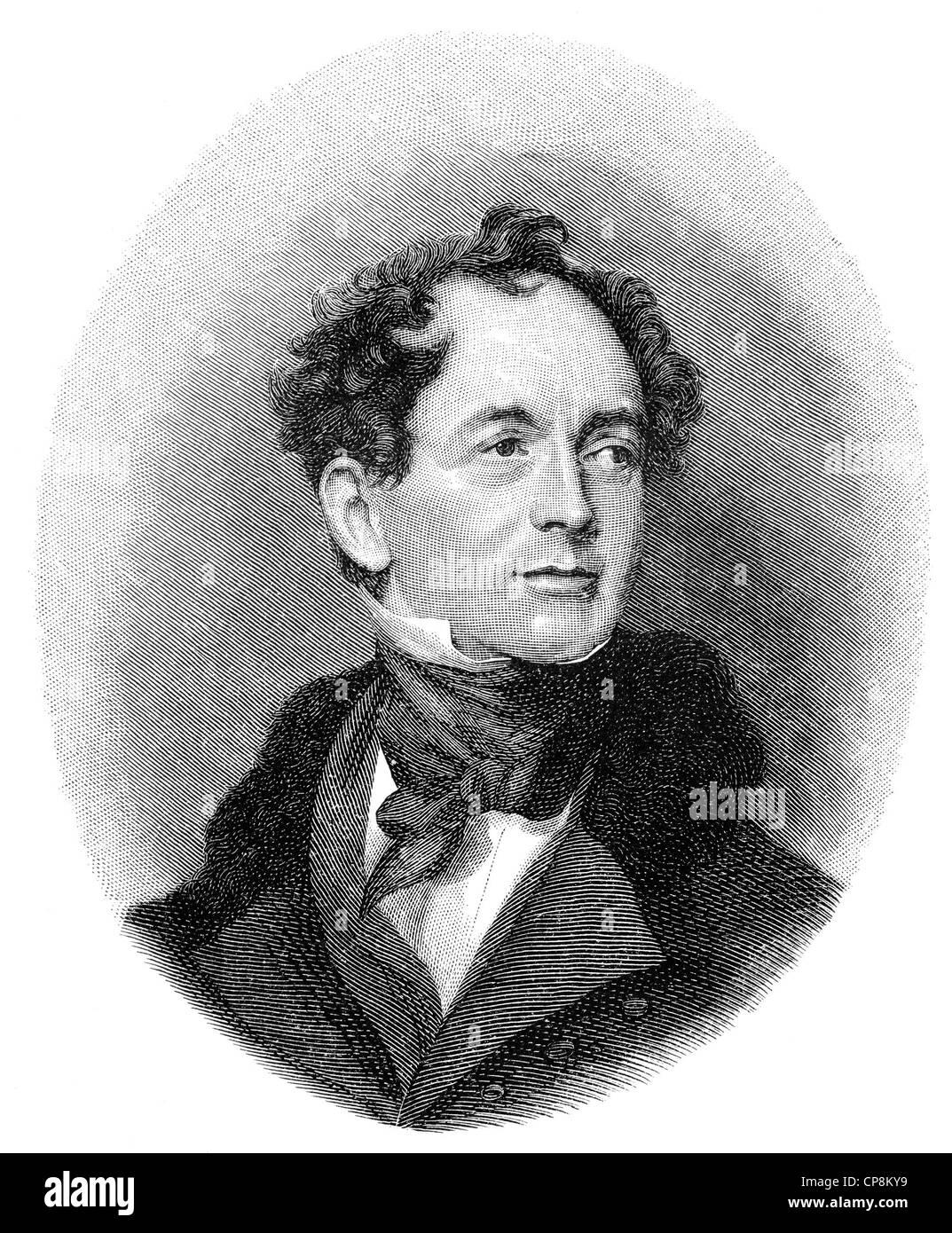 Thomas Moore, 1779 - 1852, an Irish poet, writer, translator, and ballad singer, Historische Zeichnung aus dem 19. - Stock Image