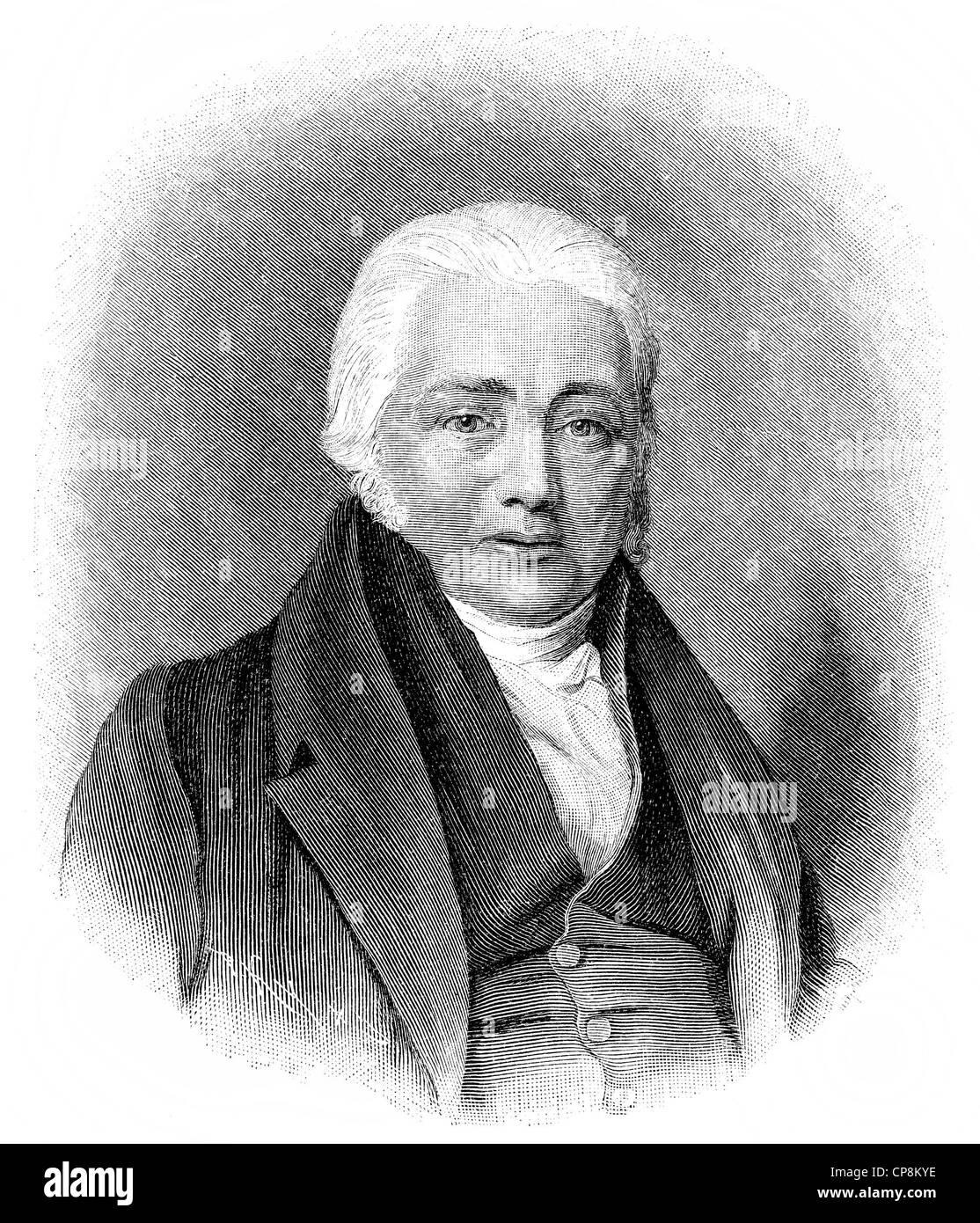 Samuel Taylor Coleridge, 1772 - 1834, an English Romantic poet, critic and philosopher, Historische Zeichnung aus - Stock Image