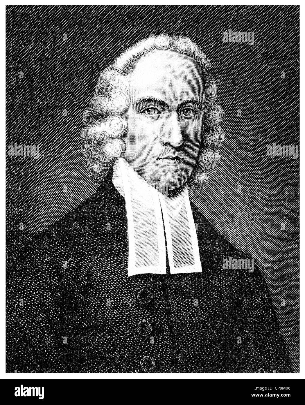 Jonathan Edwards, 1703 - 1758, an American, New England preacher, missionary and leader of the revival of the Great - Stock Image