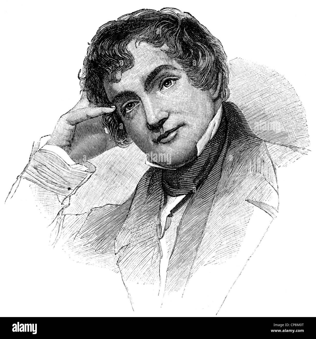 Washington Irving, 1783 - 1859, an American writer, Historische Zeichnung aus dem 19. Jahrhundert, Portrait von - Stock Image