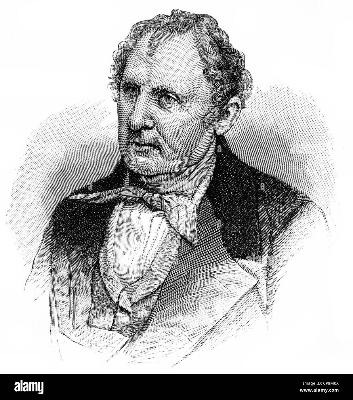 James Fenimore Cooper, 1789 - 1851, an American writer of romance, author of The Leatherstocking Tales, Historische - Stock Image