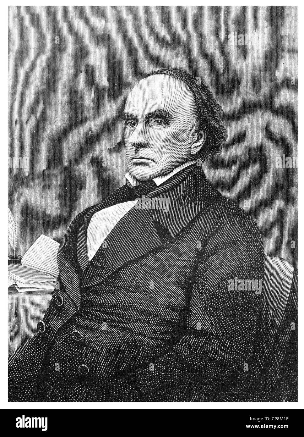 Daniel Webster, 1782 - 1852, an American statesman and jurist, Historische Zeichnung aus dem 19. Jahrhundert, Portrait - Stock Image