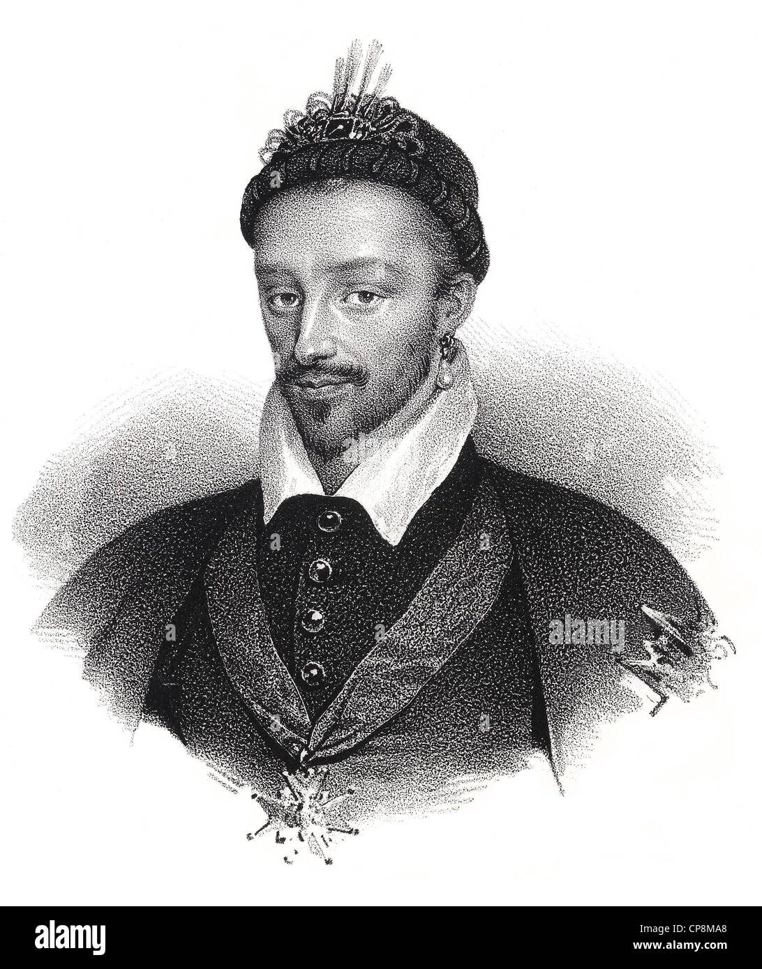 Historical steel engraving from the 19th Century, portrait, King of France from the House of Valois, Henry III of Stock Photo