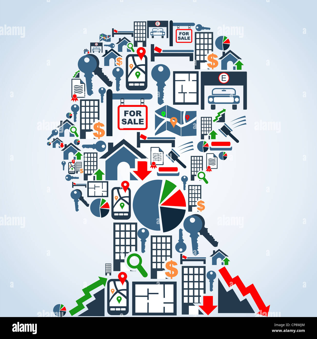 Real estate icon set in man head shape background illustration. Vector file layered for easy manipulation and custom - Stock Image