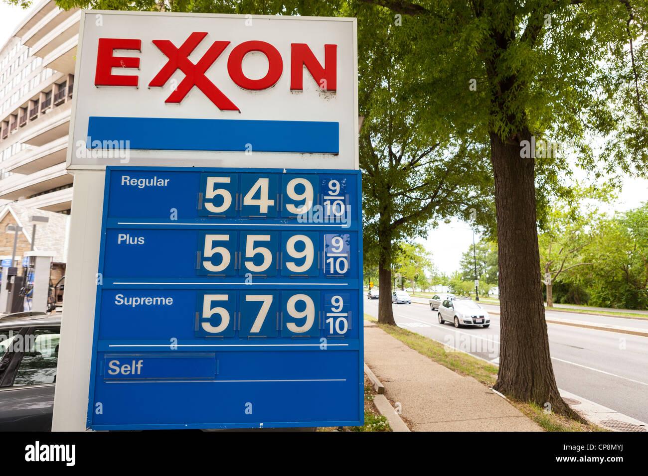 WASHINGTON, DC, USA - $5 gas price sign at Exxon service station on May 7, 2012. Stock Photo