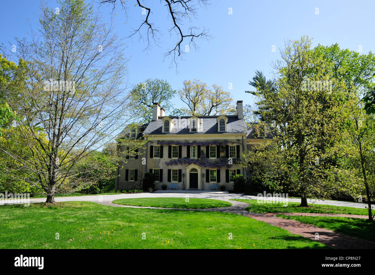 Eleutherian Mills, the du Pont family home, now part of the Hagley museum - Stock Image