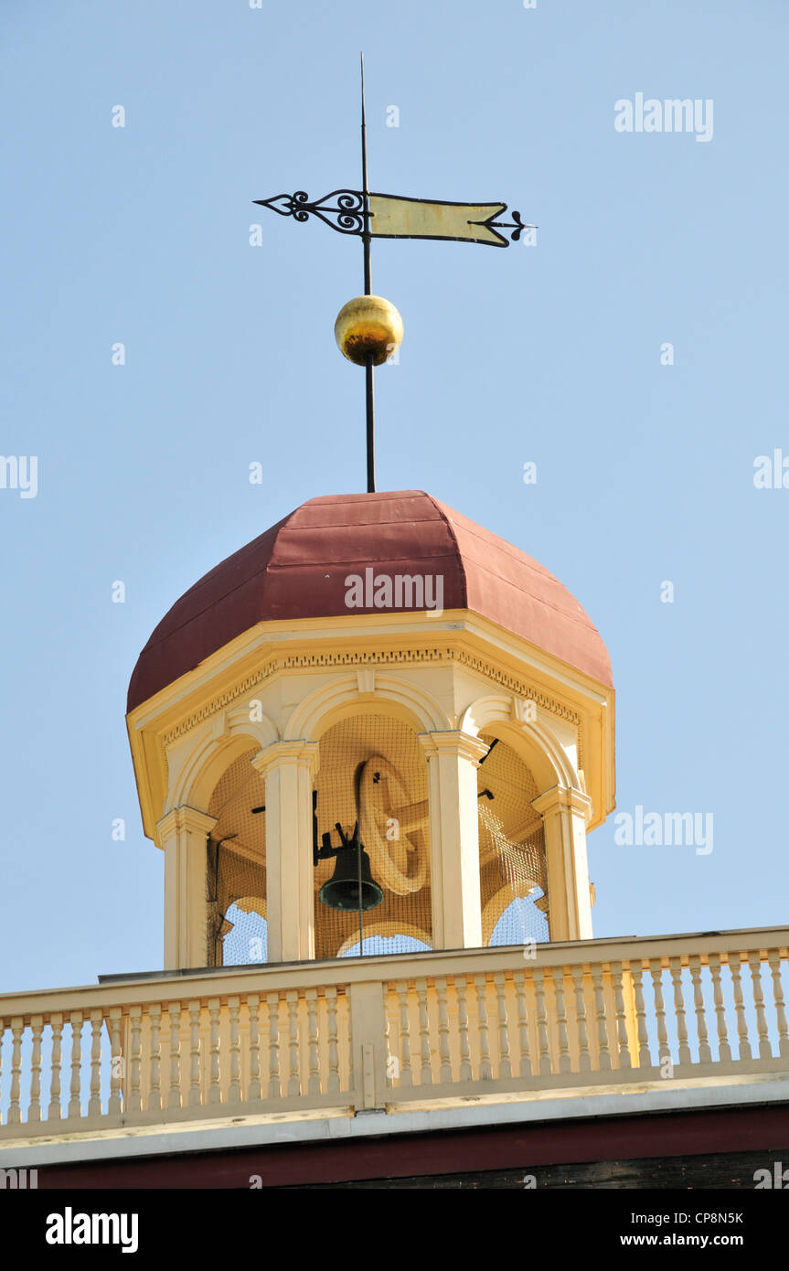 Cupola, bell and weathervane of the Old New Castle Courthouse in New Castle, Delaware - Stock Image