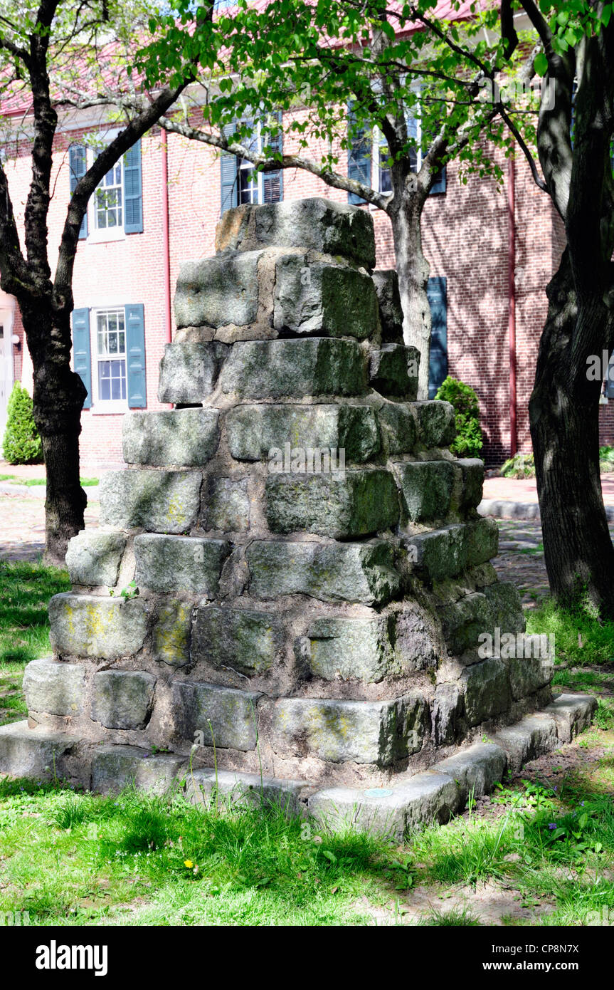 New Castle, Delaware monument created of sleeper stones used to support tracks of the New Castle and Frenchtown - Stock Image