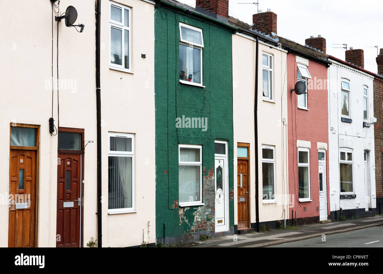 Terraced houses in Irlam, Salford, Greater Manchester, England,UK - Stock Image