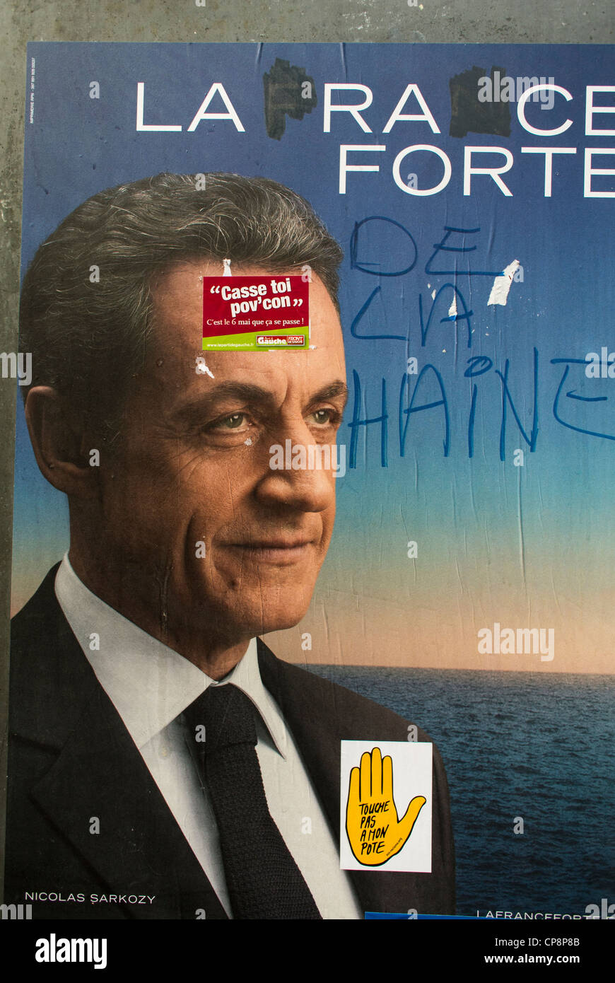 Paris, France, Defaced Sarkozy Campaign Poster, French Presidential Elections, 2012 - Stock Image