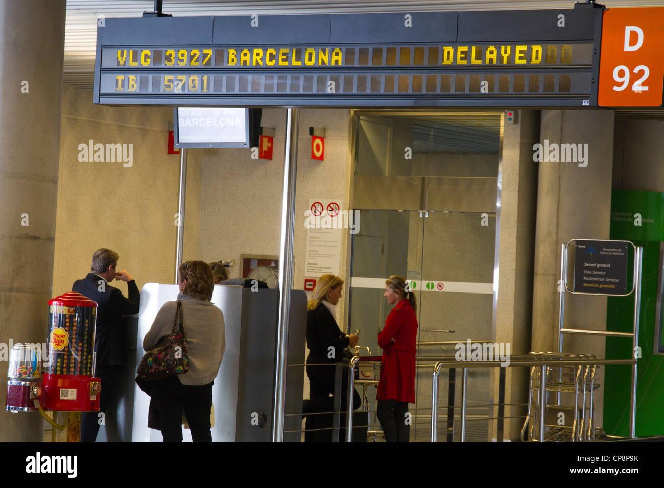 airport fly delayed cartel indoor Palma de Majorca Spain - Stock Image