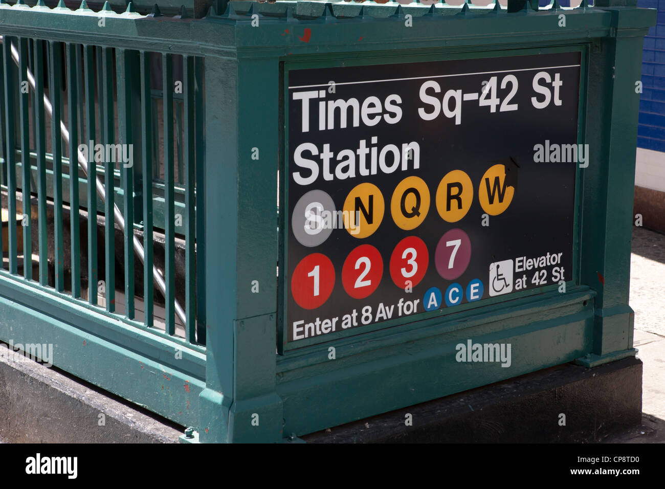 An entrance to the Times Square - 42nd Street subway Station in New York City. - Stock Image
