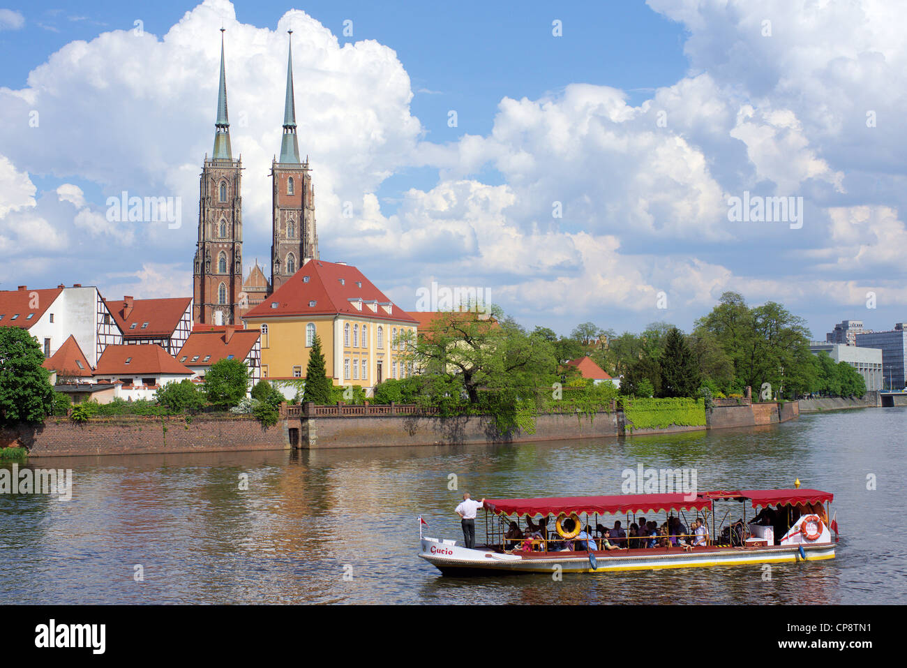 Cruising boat on the Odra River Wroclaw Poland - Stock Image