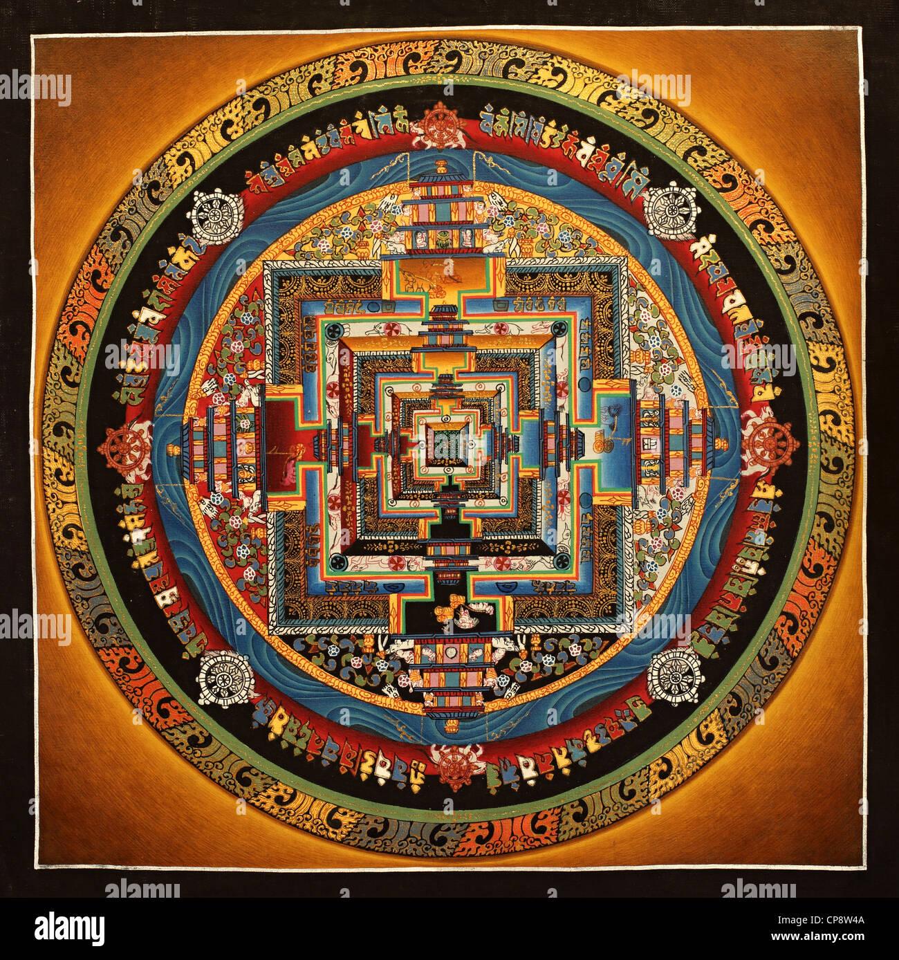 Mandala - Buddhist painting Thangka from Nepal - Stock Image
