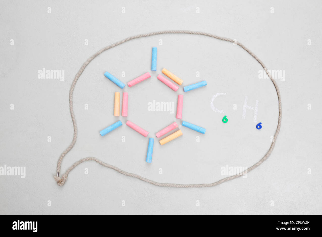 Chemical formula in speech bubble - Stock Image