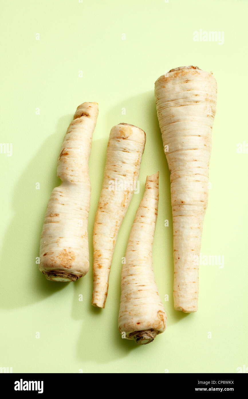 Parsley root on coloured background - Stock Image