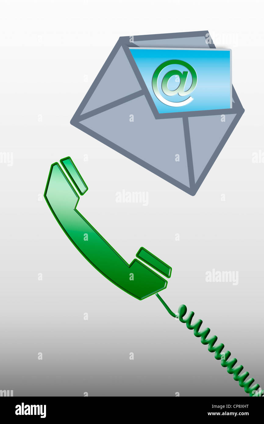 Graphical phone and opened envelope with @ sign card - Stock Image