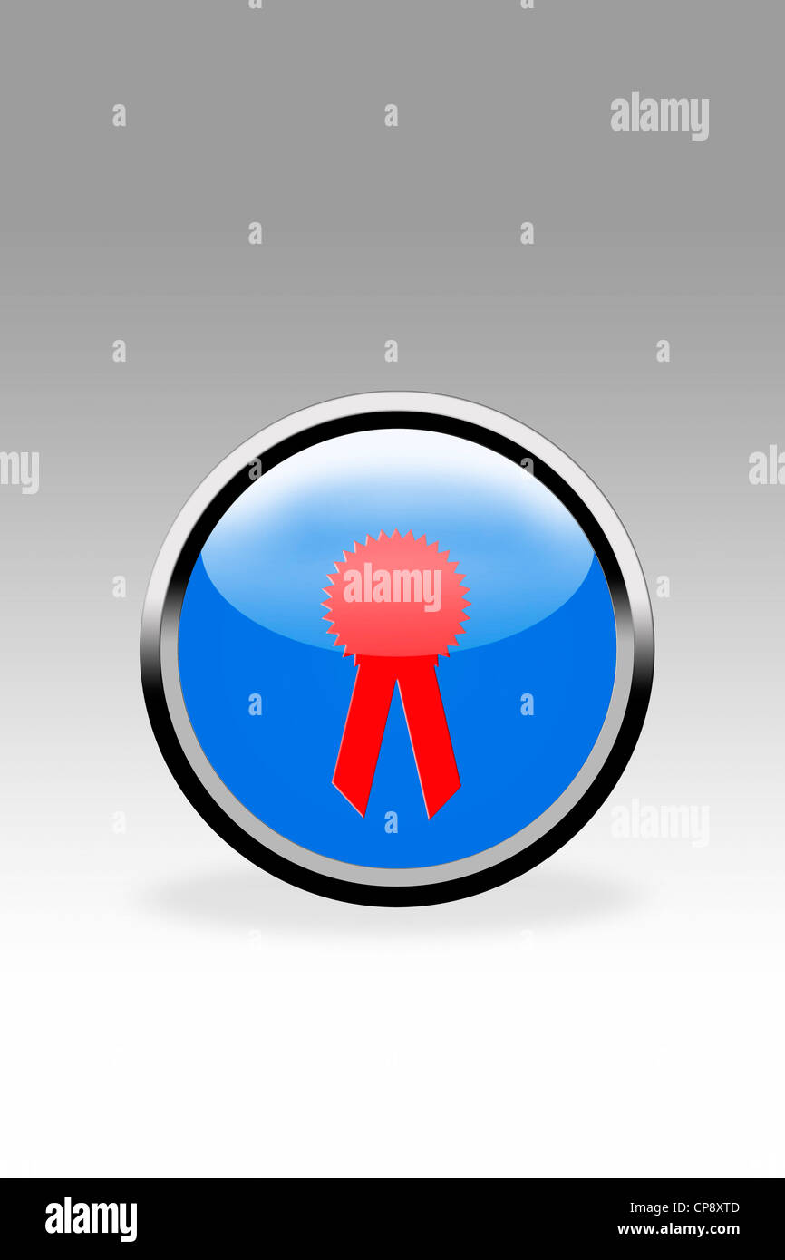Blue button showing rosette sign, close up - Stock Image