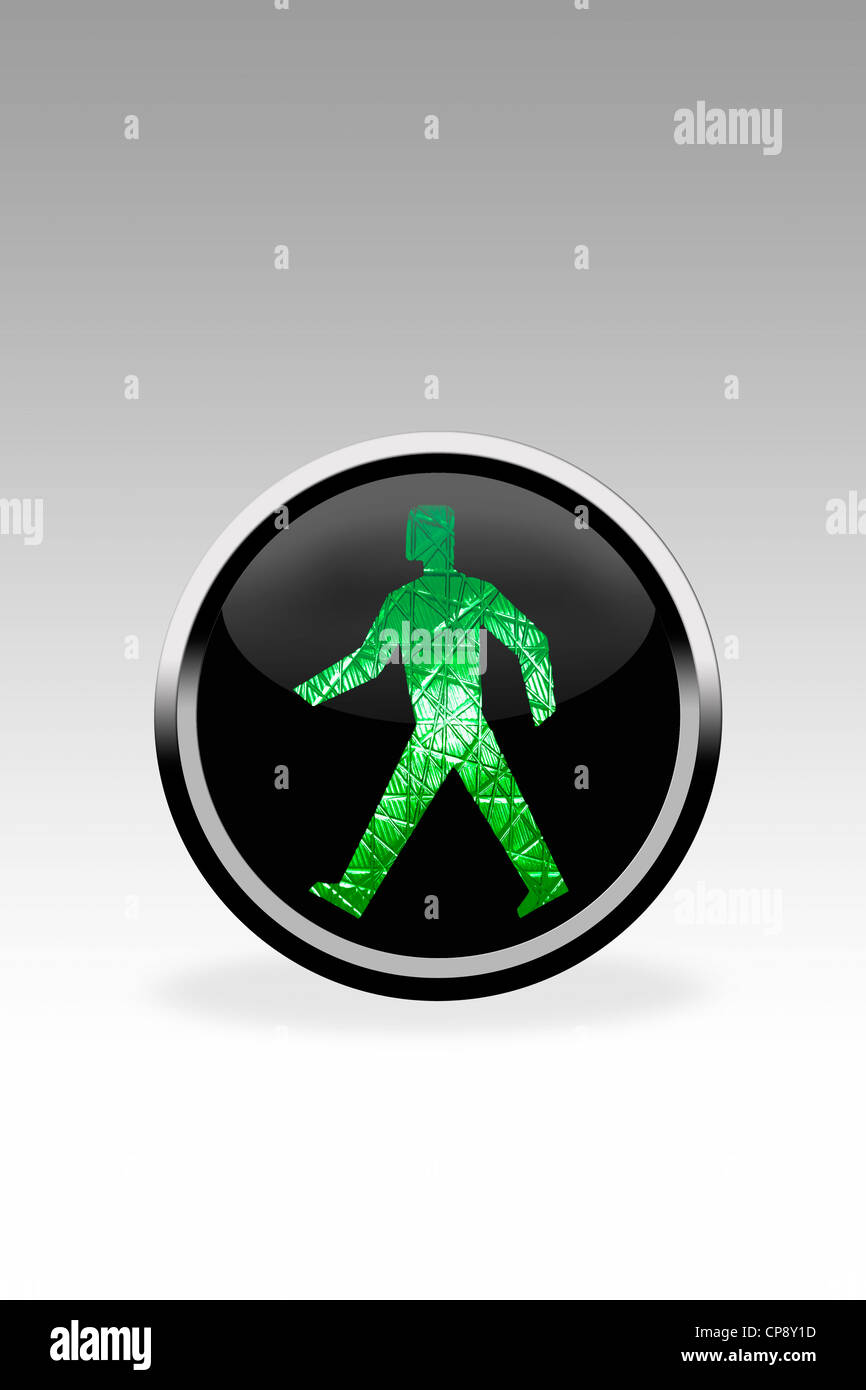 Black button showing walk signal, close up - Stock Image