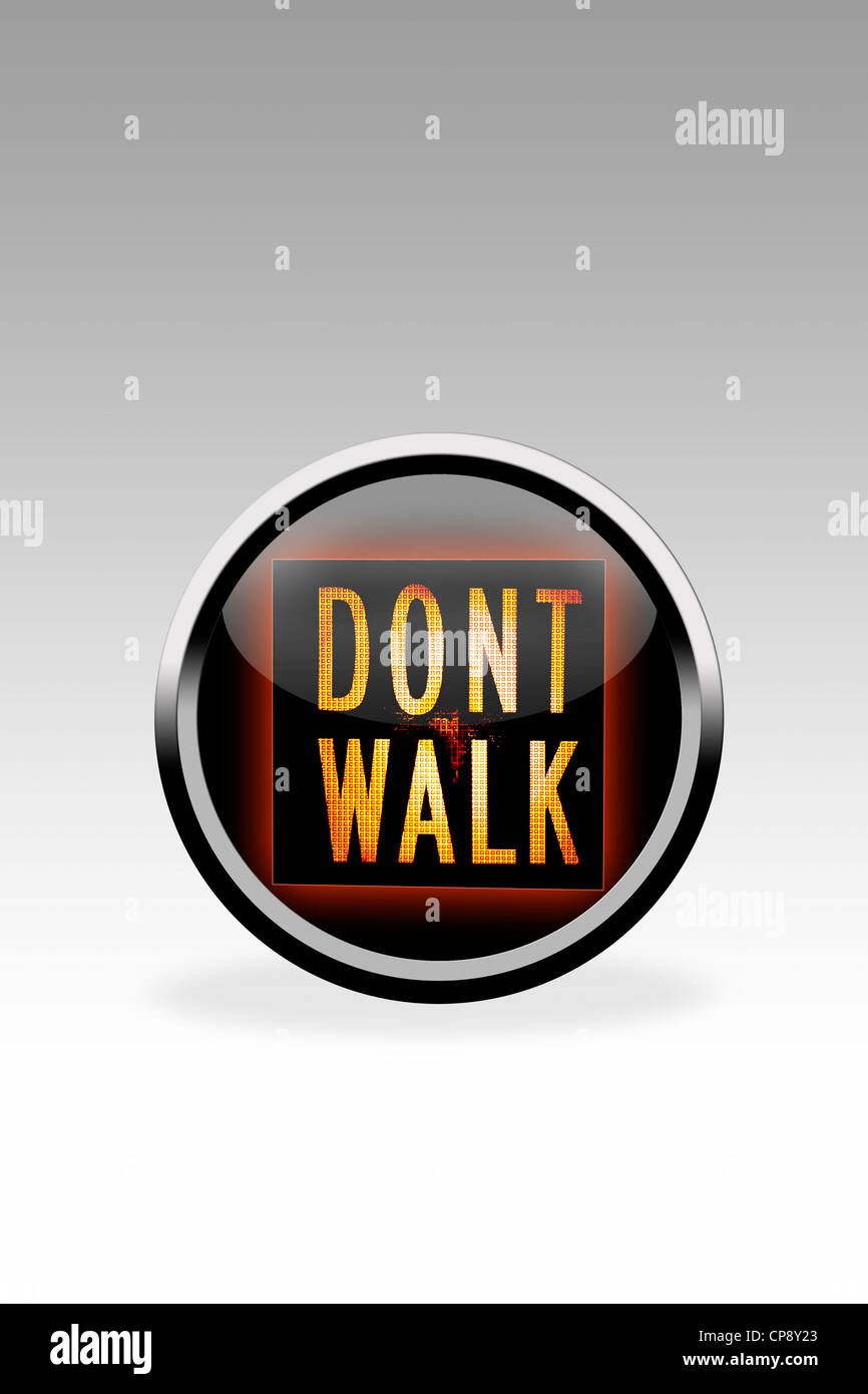 Black button showing dont walk signal, close up - Stock Image