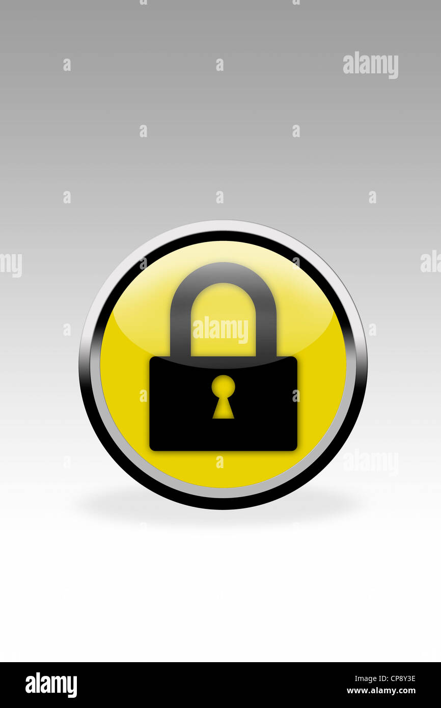 Yellow button showing padlock sign, close up - Stock Image