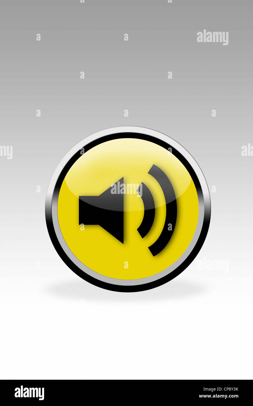 Yellow button showing loudspeaker sign, close up - Stock Image