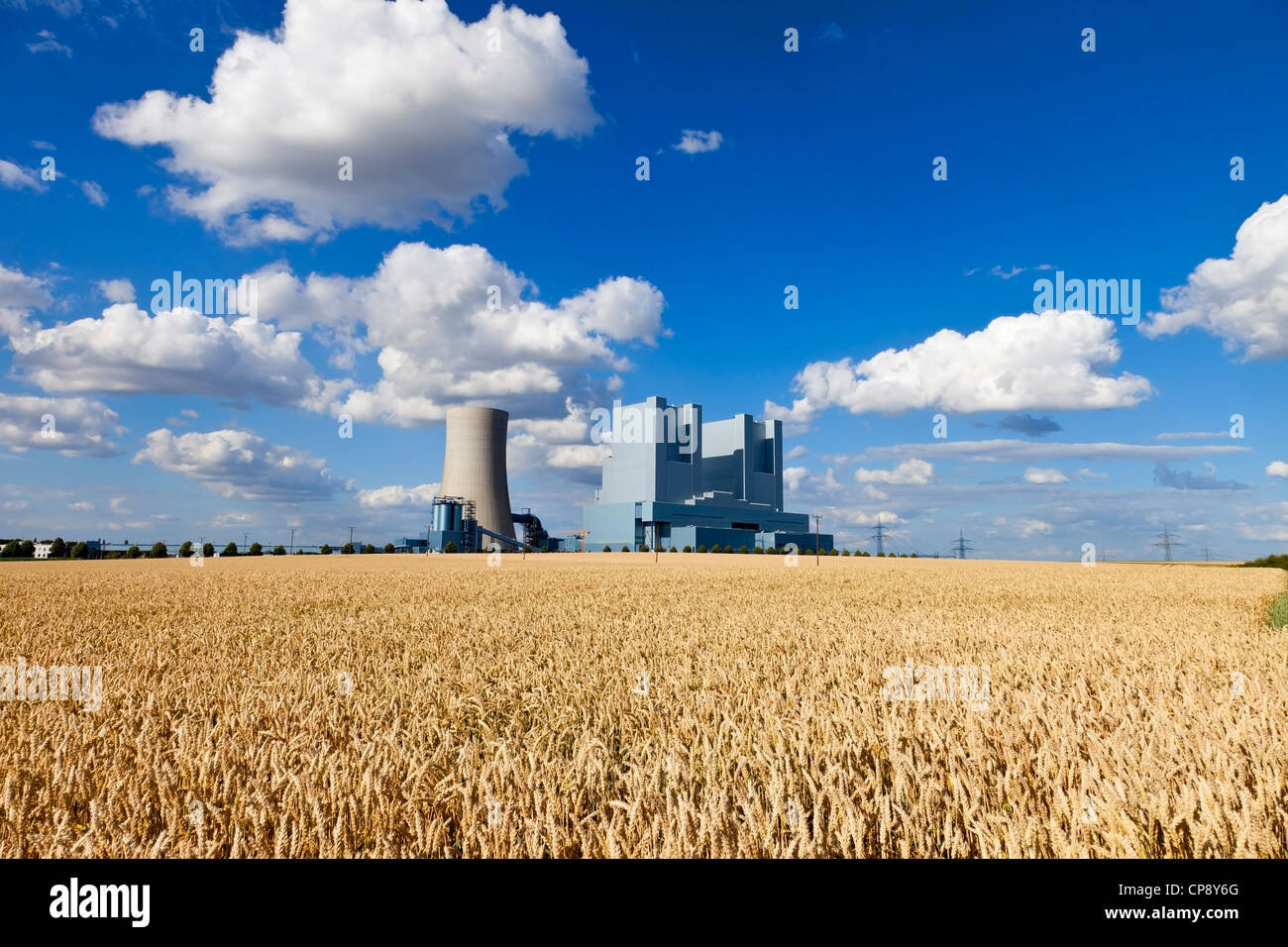 Europe, Germany, North Rhine Westphalia, View of coal power plant with corn field Stock Photo