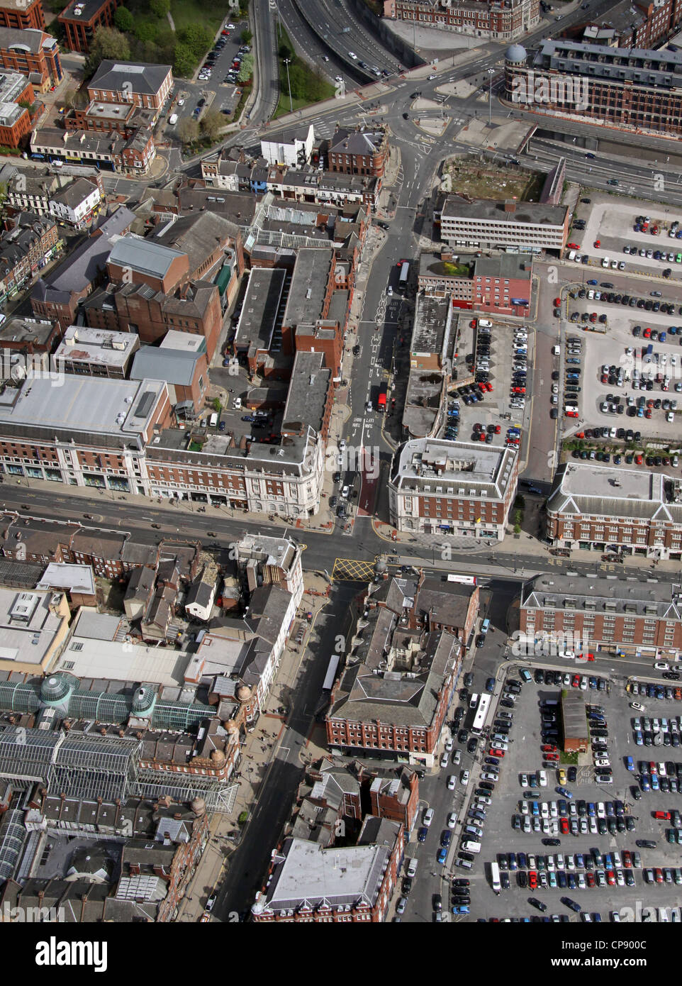 aerial view of the intersection of Vicar Lane and the Headrow in Leeds - Stock Image