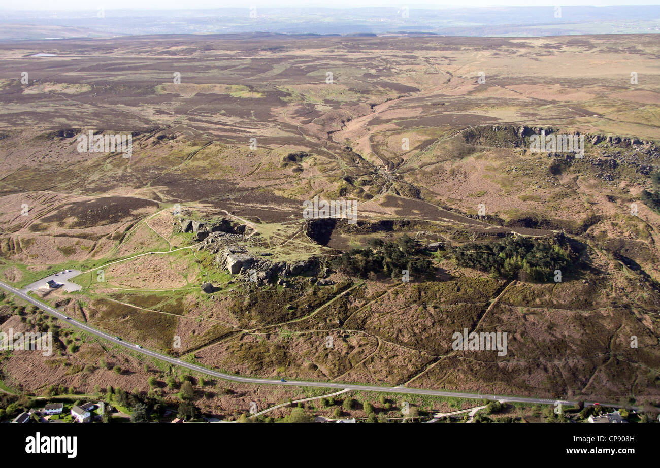 aerial view of The Cow and Calf  rocks, Ilkley Moor in Yorkshire - Stock Image