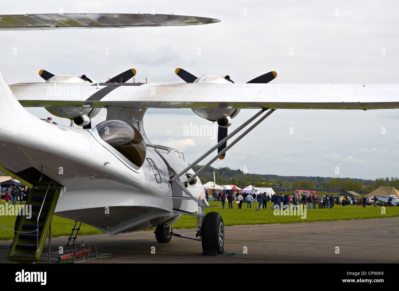 The Consolidated PBY Catalina was an American flying boat of WW2. This ione is displayed at Abingdon Airshow 2012. - Stock Image