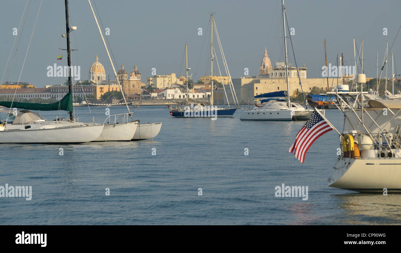 Centro, the old part of Cartagena, seen from the yacht anchorage off Club Nautica,  Columbia - Stock Image