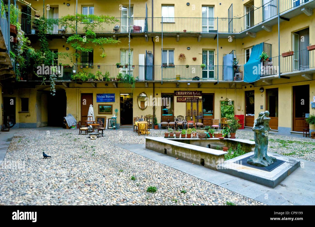 Europe Italy Piedmont Turin  Borgo Dora Courtyards - Stock Image