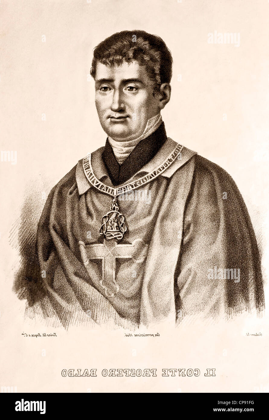 lithography of Count Prospero Balbo, (Turin, July 1, 1762 - Turin, March 14, 1837) printed in1846 - Stock Image