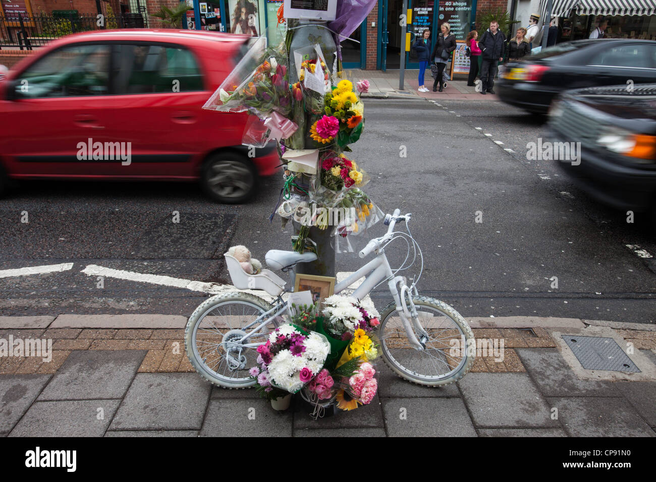A roadside tribute to a road accident victim in Birmingham, UK - Stock Image
