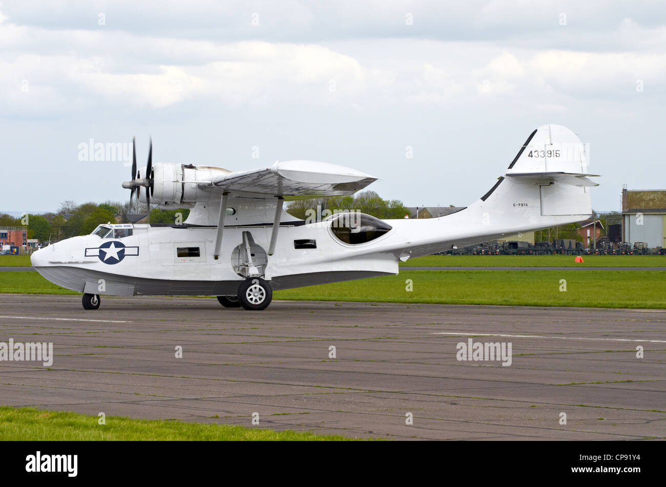 The Consolidated PBA Catalina was an American flying boat of WW2. This ione is displayed at Abingdon Airshow 2012. - Stock Image