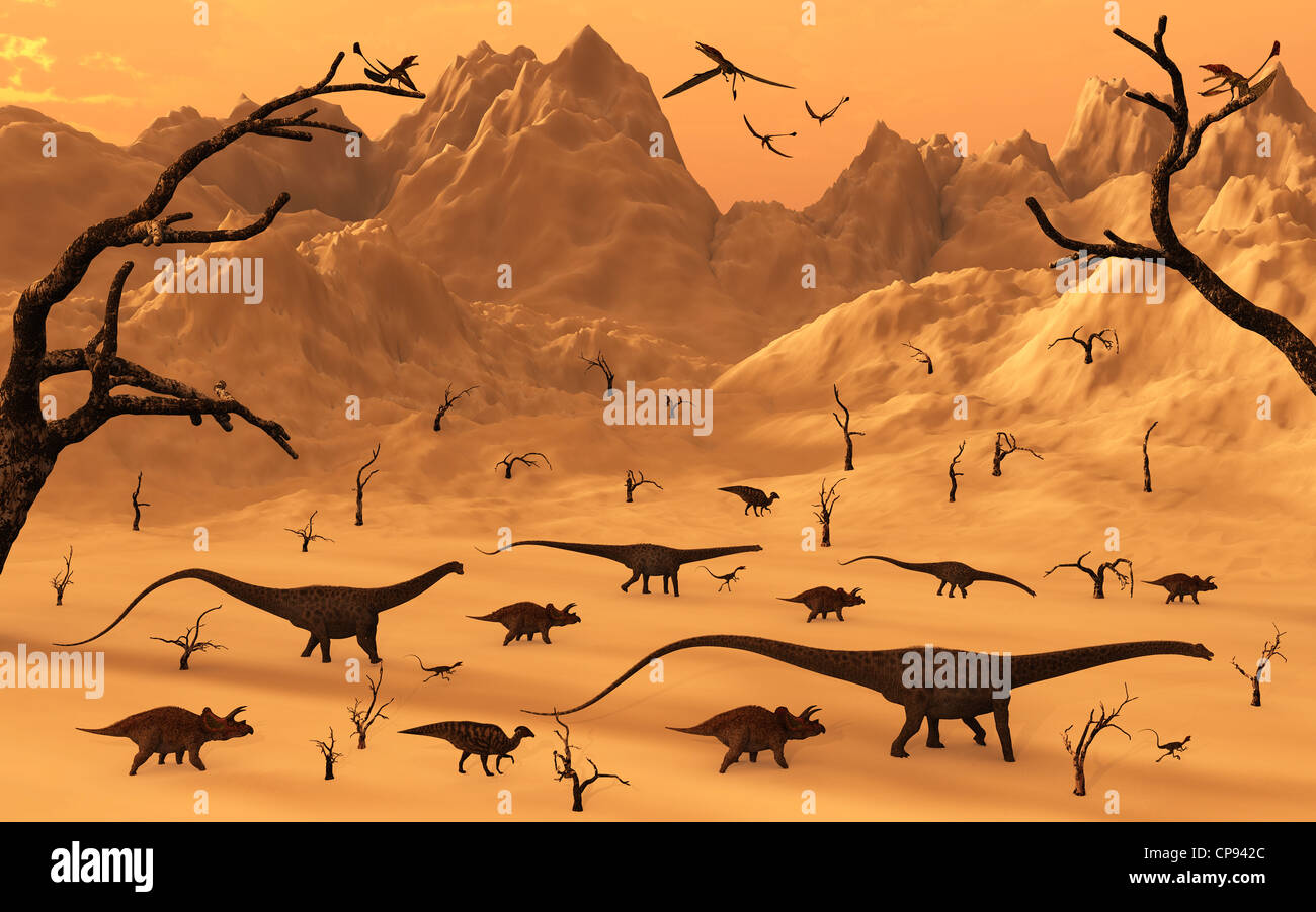 Mixed Dinosaur Herd. Stock Photo