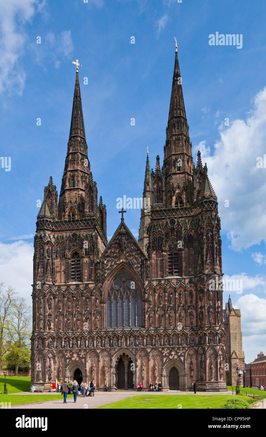 Lichfield cathedral west front staffordshire England UK GB EU Europe - Stock Image
