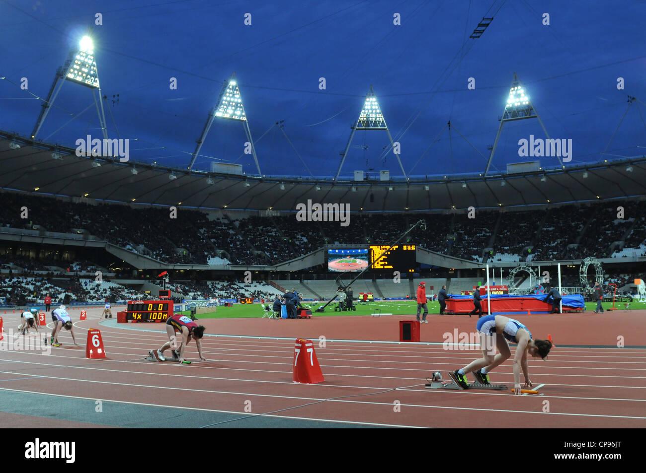 Olympic 2012 Athletics Stadium, London, UK. Womens 4 x 100 relay at the BUCS VISA Outdoor Athletics Championships. - Stock Image