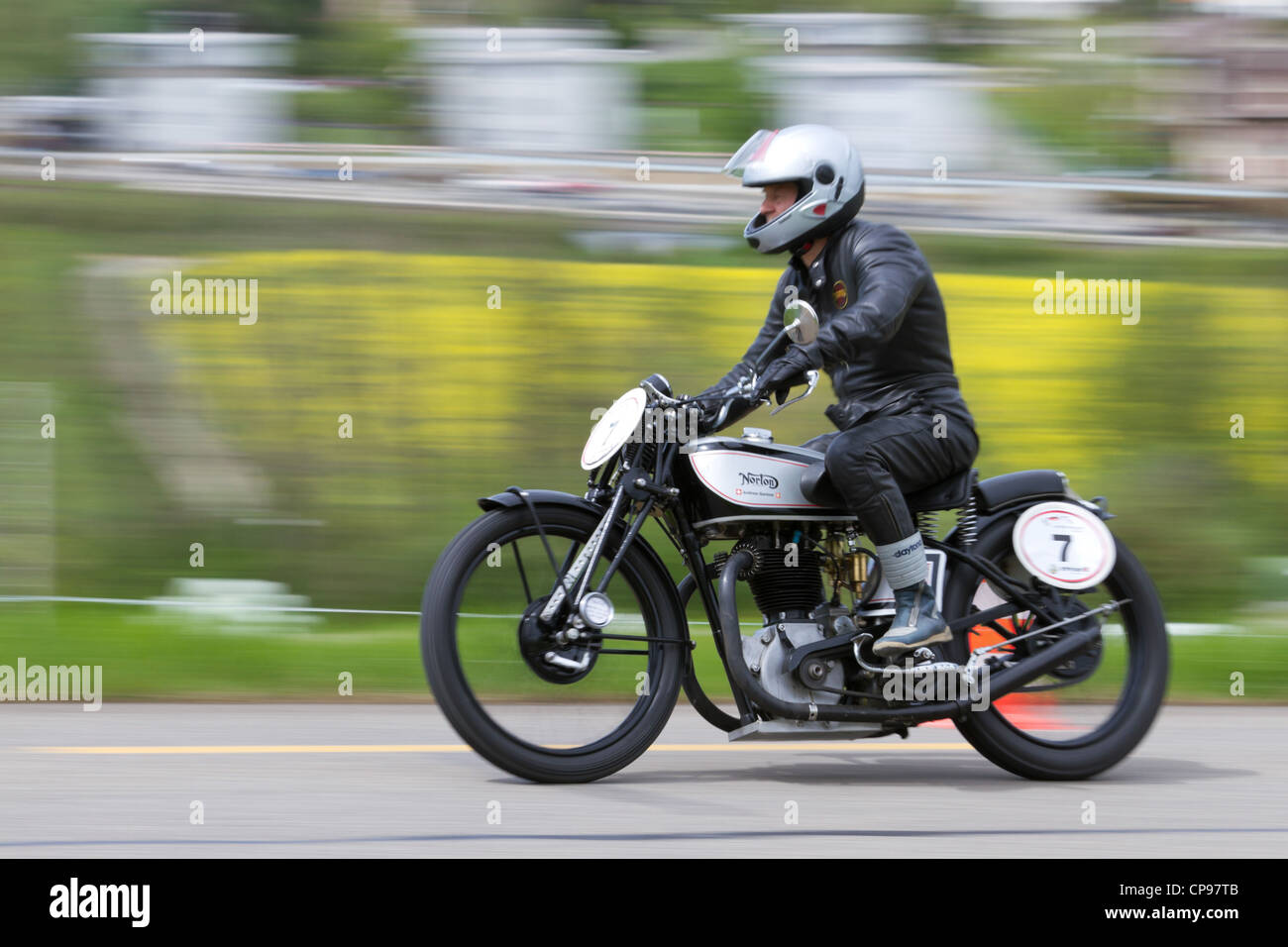 Vintage motorbike Norton Mod. 20 from 1932 on display at Grand Prix in Mutschellen, SUI on April 29, 2012. - Stock Image
