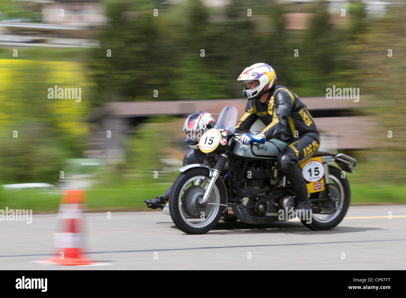 vintage motorbike Norton Manx from 1950 on display at Grand Prix in Mutschellen, SUI on April 29, 2012. - Stock Image