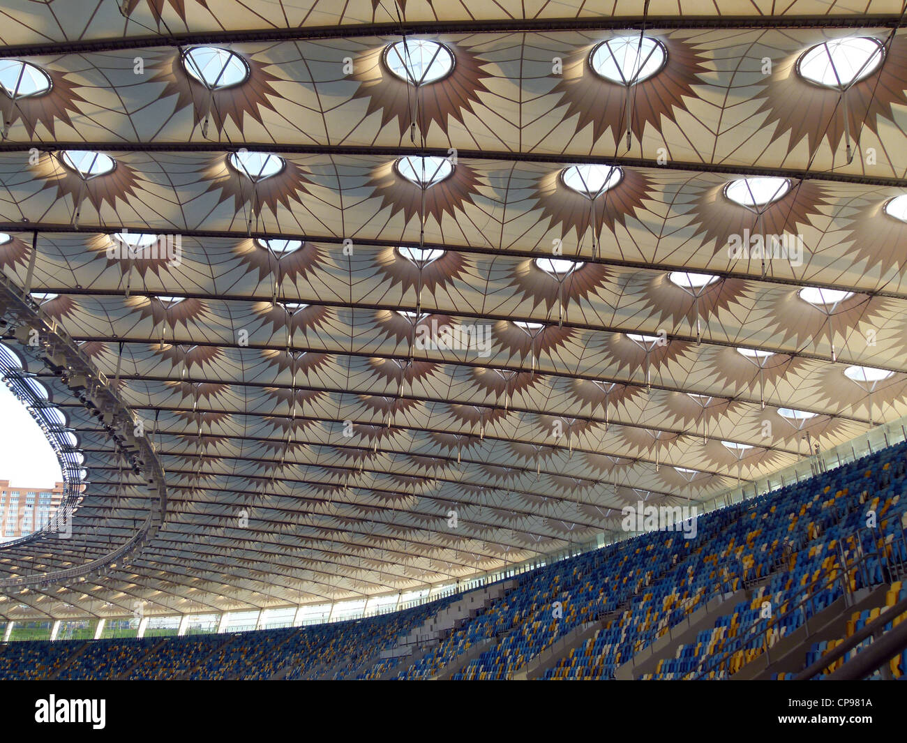 New football stadium for the 2012 UEFA European Football Championship, Kiev, Ukraine, Europe designed by the architects - Stock Image