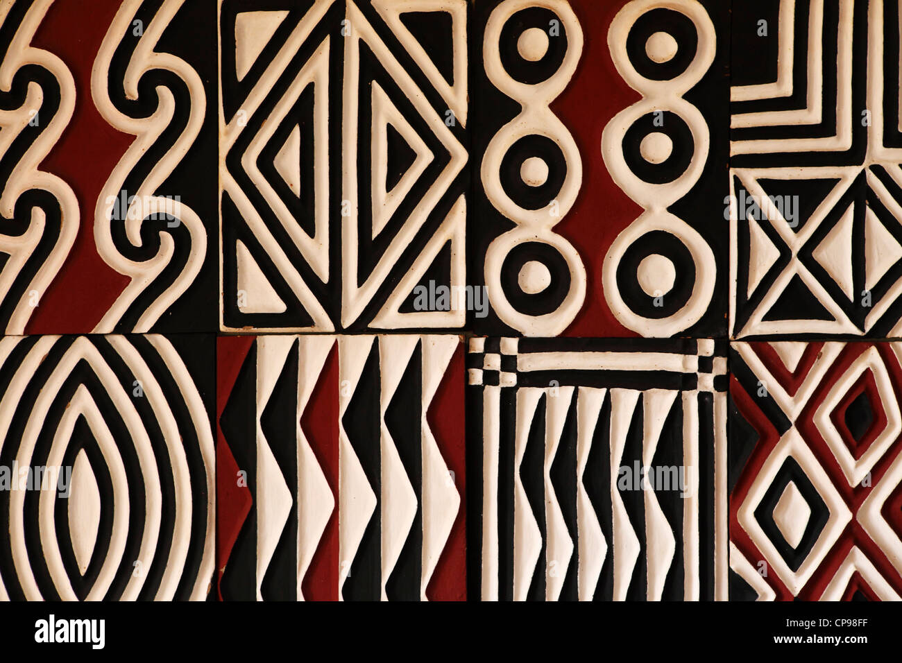 Traditional Imigongo art on display in Rwanda. - Stock Image
