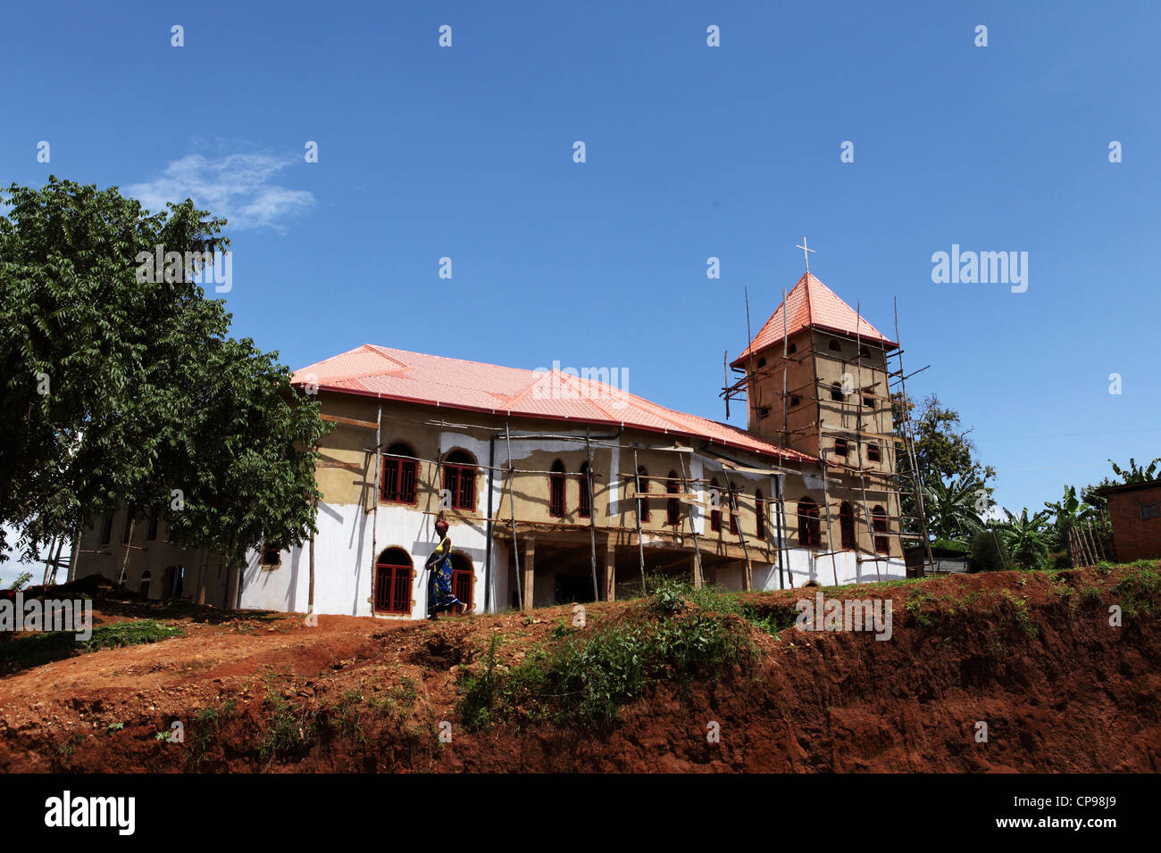 A church is under construction in the Western Province of Rwanda. - Stock Image